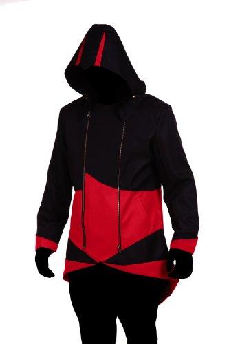 1stvital Cosplay Costume Uniform Jacket Zipper Coat,Black & Red (Child-L)