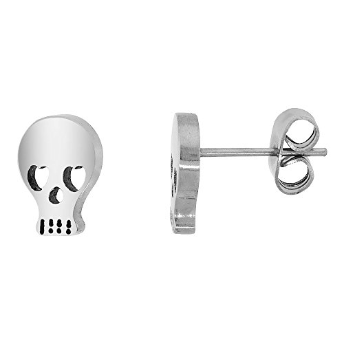 Small Stainless Steel Skull Earrings