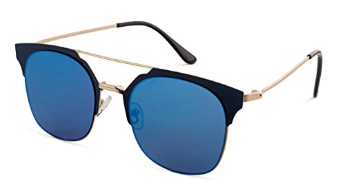 Stylle Gold Metal Frame/Blue Mirror Lens Sunglasses, - Frame Images Specs