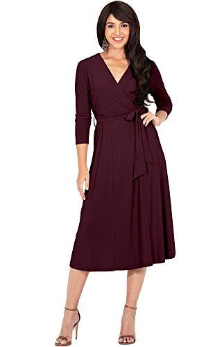 KOH KOH Womens V-Neck 3/4 Long Sleeve Flowy Knee Length Fall Bow Wrap Modest Casual Simple Plain Loose Swing A-line Sun Day Work Office Midi Dress Dresses, Maroon Wine Red M 8-10