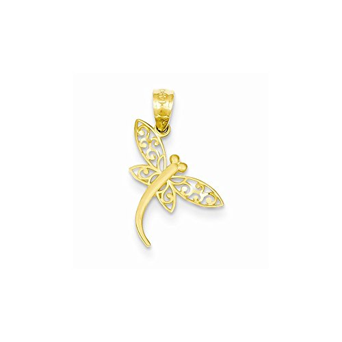 14k Yellow Gold Satin Diamond Cut Dragonfly Pendant
