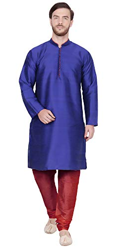 (SKAVIJ Men's Tunic Kurta Pajama Set Traditional Dress (X-Large, Blue))