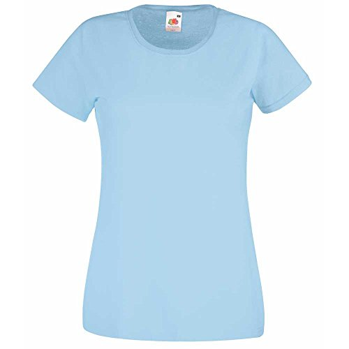 Fruit of the Loom Ladies Fit Valueweight Crew Neck Cotton T-Shirt Sky Blue