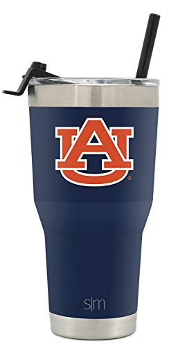 Simple Modern College 30oz Cruiser Tumbler with Straw & Closing Lid - Auburn Tigers - 18/8 Stainless Steel Vacuum Insulated NCAA University Cup Mug (Auburn Tigers University)