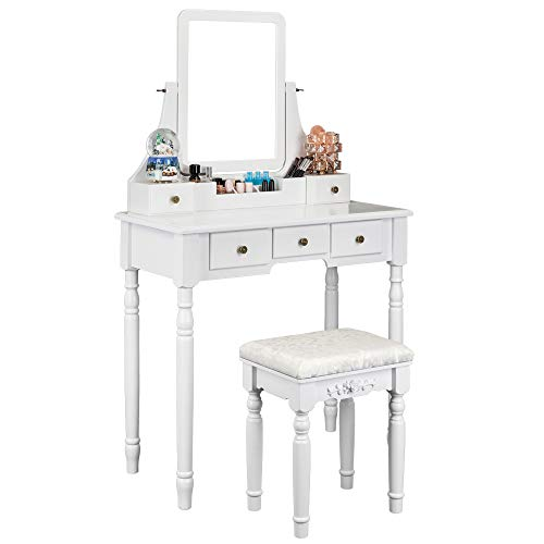 Bonnlo Modern Vanity Table Set with Mirror and Cushioned Stool,Vanity Makeup Table with 5 Drawers White Dressing Table,Removable Desk Makeup Organizer for Nail Polishes Brushes For Sale