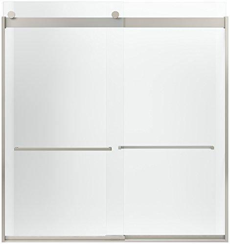 KOHLER K-706207-L-NX Levity Front Sliding Glass Panel and Assembly Kit for K-706007 Bath Door, Brushed Nickel