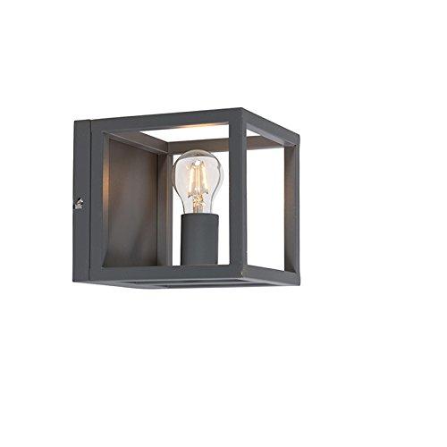 QAZQA Modern Wandleuchte Cage 1 grau Innenbeleuchtung Wohnzimmerlampe Schlafzimmer Küche Metall Würfel LED geeignet E27 Max. 1 x 60 Watt
