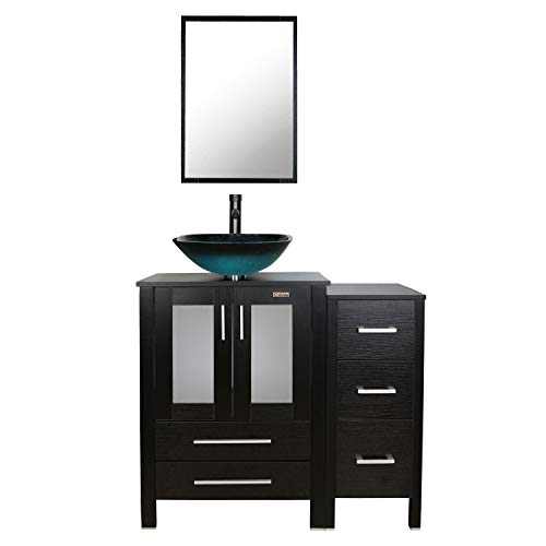 - eclife 36'' Bathroom Vanity Sink Combo W/Black Small Side Cabinet Vanity Turquoise Square Tempered Glass Vessel Sink & 1.5 GPM Water Save Faucet & Solid Brass Pop Up Drain, With Mirror (A10B11)