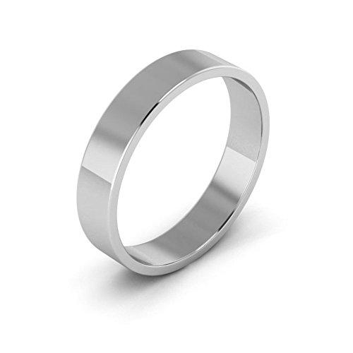 14K White Gold men's and women's plain wedding bands 4mm light flat, (14k Gold Flat Wedding Band)