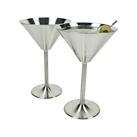 "Stainless Steel Martini Glasses 25 Stainless Steel Cocktail Martini Glass 7 oz - Set of 3 Keeps martinis colder longer than glass 7"" tall, 3"" dia. at base."