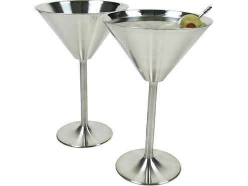 Stainless Steel Martini Glasses Set of 8