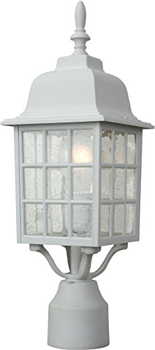 04 Grid Cage (Craftmade Z275-04 Post Mount Lights with Seeded Glass Shades, White)