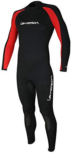 Lemorecn Mens Wetsuits Jumpsuit Neoprene 3/2mm Full Body Diving Suit (3031red-3XL)