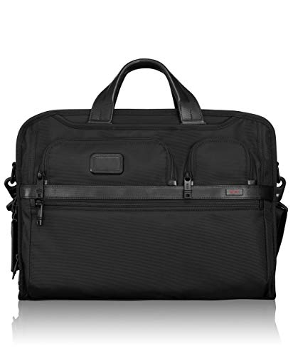 2 Brief Computer Pocket (TUMI - Alpha 2 Compact Large Screen Laptop Brief Briefcase - 17 Inch Computer Bag for Men and Women - Black)