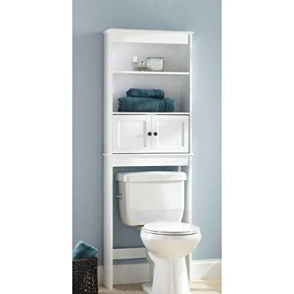 hawthorne place white wood spacesaver bathroom shelf - Bathroom Place