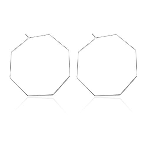 RIAH FASHION Simple Geometric Polygon Lightweight Hoop Earrings - Classic Thin Wire Delicate Threader Dangles Octagon/Pentagon/Hammered Curved Crescent Arc (Octagon Silver)