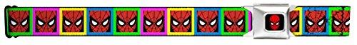 Buckle Down Big Boys Spider-man Face Multi Color Blocks Seatbelt Belt, Multicolor, Regular