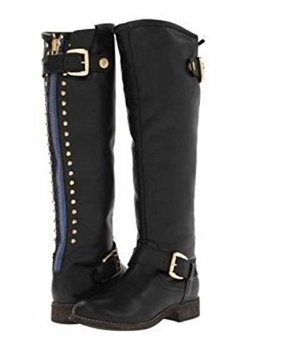 T-JULY Winter Platform Shoes Woman Girls Buckle Rivets Knee-High Motorcycle Boots Women Pumps Black
