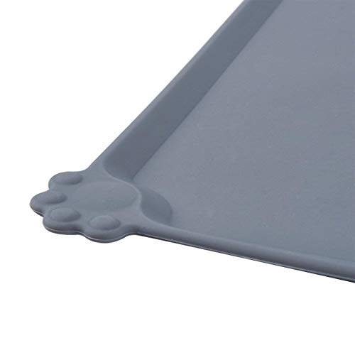 Juvale Pet Food Tray - 2-Pack Silicone Pet Food Mat, Waterproof Pet Feeding Tray with Non-Slip Bottom and Raised Edges, Grey by Juvale (Image #5)