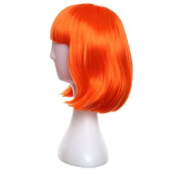 Womens-Sexy-Short-BOB-Hair-Wig-With-Straight-Bangs-Cosplay-Dance-Party-Full-Wigs-Orange