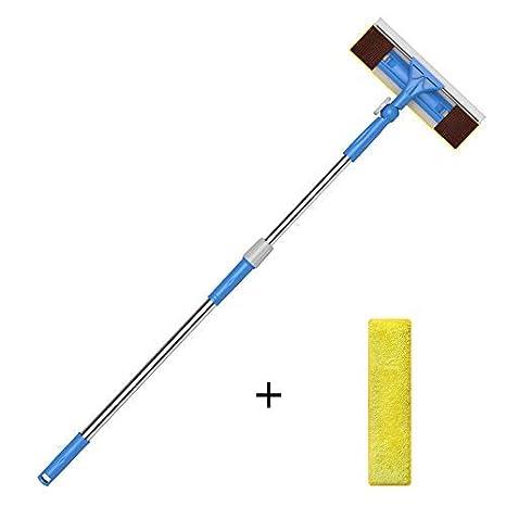 Limpiacristales 2 en 1 con Microfibra Telescópico Mango, 180 Grados Ajustable, 1.49m para Ventanas, Vidrio, Tanque de Peces, Espejo -Merisny