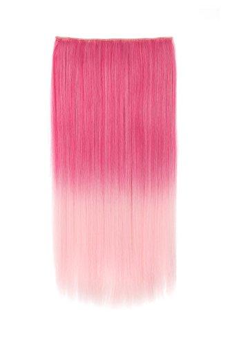 OneDor ® 24 recto 3/4 cabeza pelo sintético extensiones Clip en postizos (rosa Ombre escuchándose-Q11)