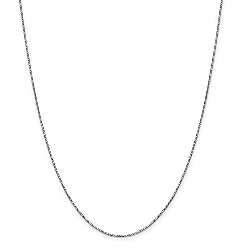 10k White Gold Polished 0.9mm Box Link Chain Necklace 20'' by Venture Gold Jewelry Collection