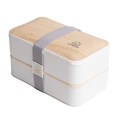 Umami Lunch Box Blanc Bambou   Bento À 2 Compartiments Hermétiques Et 3 Couverts Solides   Passe Au Micro-Ondes Et Au Lave-Vaisselle   Durable, Sain & Design   Convient Aux Adultes comme Aux Enfants product image