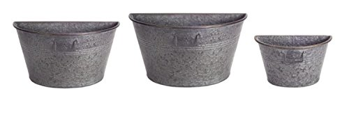 "Set of 3 Rustic Metal Half Tub Containers Wall Hanging Planters 12"", 10"", 8.5"" by Melrose"
