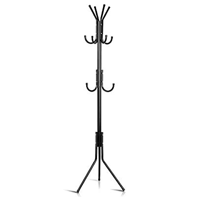 INTEY Wall Mounted Coat Rack, Heavy Duty Hooks Hanger Rack for Coats, Bags, Scarves, Towels and Umbrellas, Stainless Steel (8 Hooks) - 【High Quality and Wildly Used】 This stylish coat hanger rack is the perfect choice for coats, jackets, handbags, purses, scarves and umbrellas. Sturdy 12 hook metal coat rack is ideal for your foyer, hallway, cloakroom or bedchamber. 【Sturdy Stainless Construction】Our coat stand is designed to be light enough to easily move anywhere in the home, but sturdy and functional enough to handle your entire family's coats and jackets. Besides, The tripod legs can hold the rack firmly even pile on bags and winter jackets. 【Suitable for All Kinds of Room】The simple and functional design of our hall tree can works in all types of living and working spaces. Whether you're in a dorm room, apartment or office, the classic design of this coat rack will match your room style perfectly. - entryway-furniture-decor, entryway-laundry-room, coat-racks - 31MrAuaUitL. SS400  -