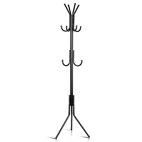 INTEY Standing Coat Rack, Hanger Holder Hooks for Dress, Jacket, Hat and Umbrella, Tree Stand with Base Metal, Black by INTEY