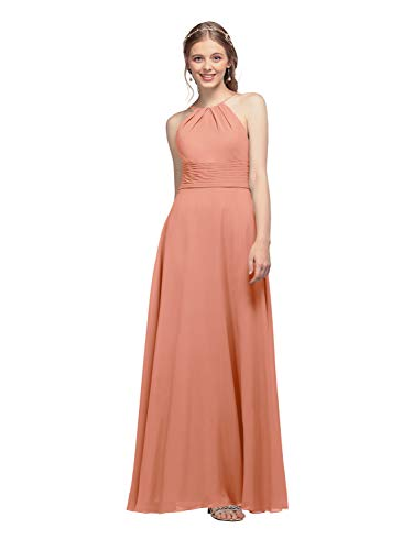 AW Halter Chiffon Bridesmaid Dresses Long Prom Formal Wedding Party Dress for Women, Peach Pink, US12]()