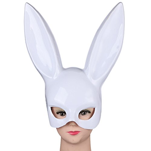 SUKEQ Women's Masquerade Rabbit Ear Mask, Matte Easter Party Bunny Ears Mask Half Face Masks Cosplay for Nightclub, Bar Ball, Masquerade, Halloween, Easter, Christmas  (White 2) (Bunny Matte)