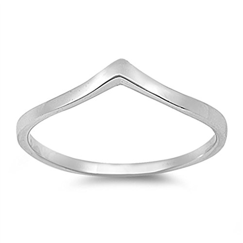 Sterling Fashion Bands - Chevron Pointed Arrow Cute Ring New .925 Sterling Silver Band Size 13