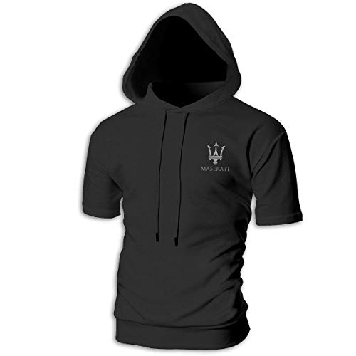 SHENGN Personalized Man with Cap Comfortable Maserati Logo Sweater Black