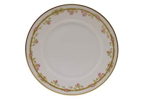 """Theodore Haviland Limoges France Pink Roses Green Link Gold Bread Plate 6 3/8"""""""