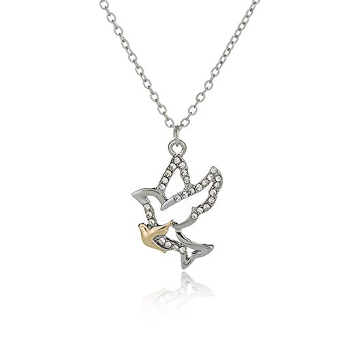 - Libaraba Cute Two-Tone Zirconia Accent Mom and Baby Peace Dove Pigeon Pendant Necklace,Pigeon Dove Necklace for Women (Silver)