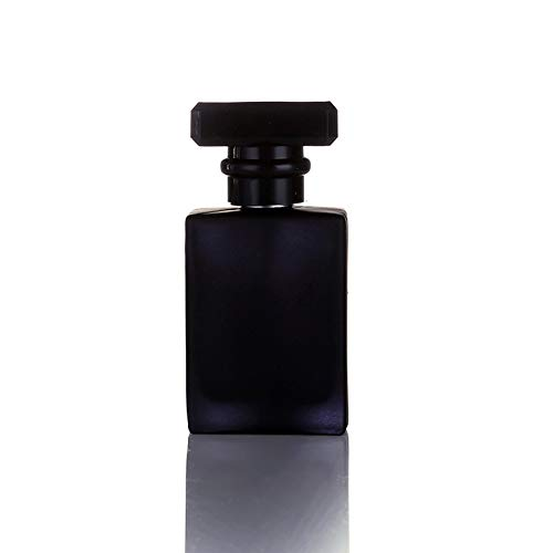 30ML Glass Refillable Perfume Bottle, Portable Square Cologne Empty Atomizer Bottle for Travel (Black)