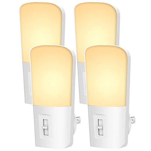 LOHAS Plug in LED Night Light, Dusk to Dawn Sensor for Nightlight Bulb, Dimmable 1W Automatic on/Off Light Bulb, 5-80 Lumens Soft White Night Light for Kids Bedroom, Kitchen, Hallway, 4 Pack