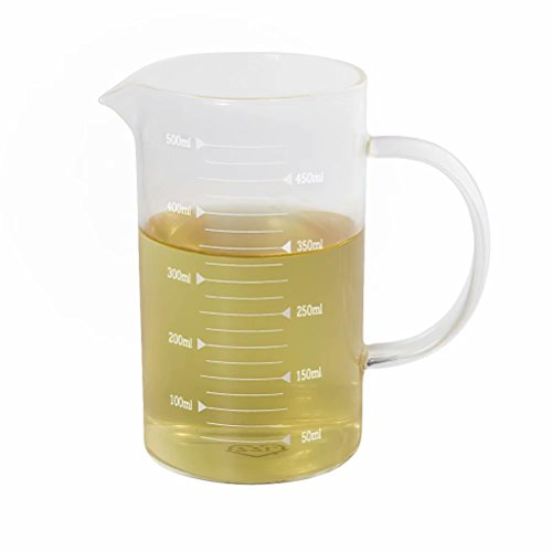 Glass Measuring Cup, [Insulated handle, V-Shaped Spout], 77L High Borosilicate Glass Measuring Cup for Kitchen or Restaurant, Easy To Read, 500 ML (0.5 Liter, 2 Cup)
