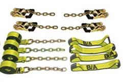 BA Products 38-8200C 8 pt Rollback Tie Down Flatbed Tow Truck Gradual Release Ratchets Straps w/Chain 14' Straps KIT USA Recovery Tow Truck Wrecker