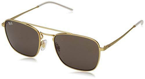 Ray-Ban RB3588 Square Metal Sunglasses, Rubber Gold/Brown, 55 ()