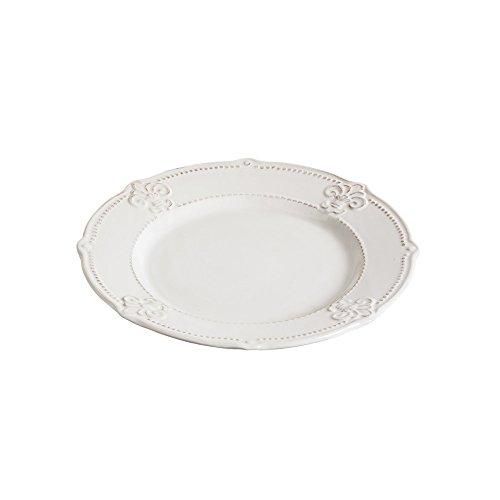 Cypress Home Ceramic Fleur de Lis Dinner Plate, 11