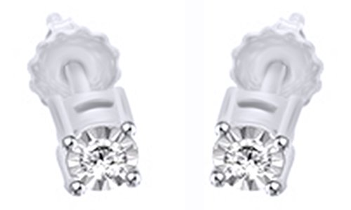 Cut Natural Diamond Round Stud Earrings In 14K White Gold Over Sterling Silver (1/14 Ct) ()
