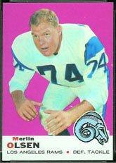 - 1969 Topps Regular (Football) card#34 Merlin Olsen of the Los Angeles Rams Grade Near Mint/Mint or Better