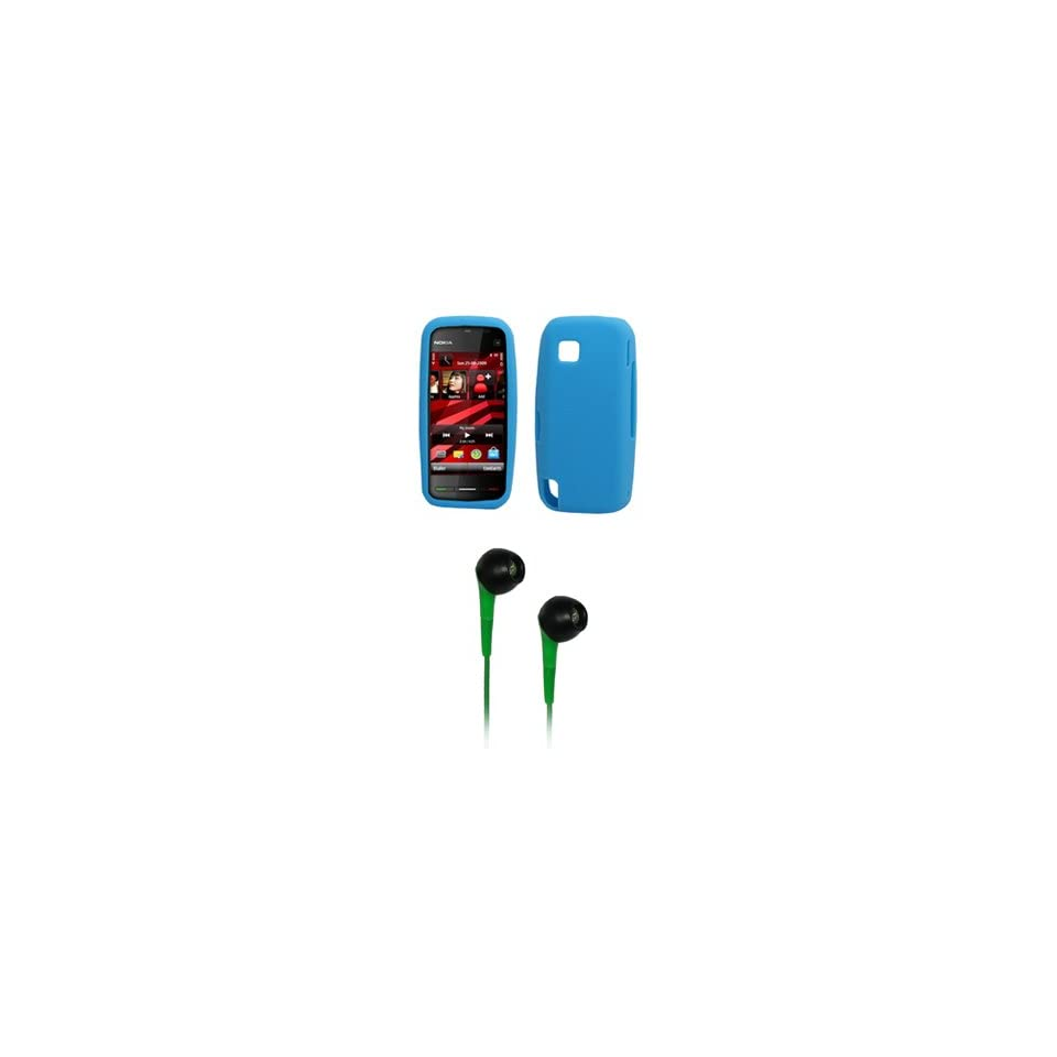 EMPIRE Light Blue Silicone Skin Cover Case + Green 3.5mm Stereo Headphones for T Mobile Nokia Nuron 5230