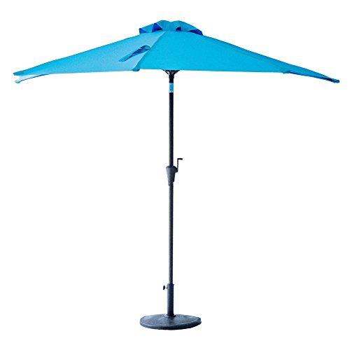 FLAME&SHADE 9' Half Round Outdoor Patio Market Umbrella with Crank Lift, Push Button Tilt, Aqua Blue (Umbrella Half)
