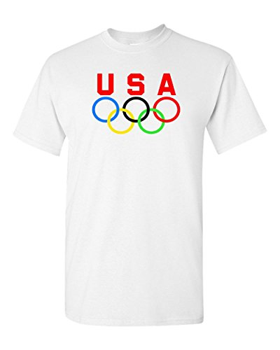 (Olympic Rings USA Logo T-Shirt - Swim Ski Track Fun Sports Tee 2018 (L))