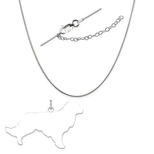 Ss Toni Tails Engraveable Medium Golden Retriever Disc Charm on a Snake Chain, 18