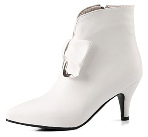 0c11e44435 Aisun Women's Cute Inside Zip up Dressy Pointed Toe Ankle Boots Stiletto Kitten  Heels Booties Bows